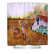 Whitetail Deer With Truck And Barn Shower Curtain