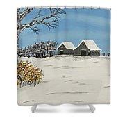 Winter Deer  Lookout Shower Curtain