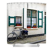 Whitewashed Brick House With Green Trimmed Shutters In Bruges Shower Curtain