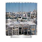 Whitewashed Naoussa Shower Curtain