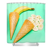 Whole Bannana And Slices Placed In Ice Cream Cone Shower Curtain