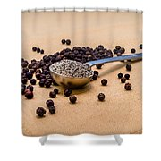 Whole Black Peppercorns With A Heaping Teaspoon Of Ground Pepper Shower Curtain
