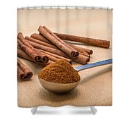 Whole Cinnamon Sticks With A Heaping Teaspoon Of Powder Shower Curtain