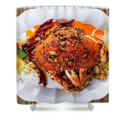 Whole Cooked Dungeness Crab With Peanut Sauce And Spices On Whit Shower Curtain
