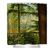 Whonnock Lake Through The Trees Shower Curtain