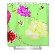 Whoosh Of Flowers Shower Curtain