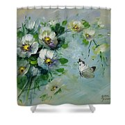 Whte Butterfly And Blossoms Shower Curtain
