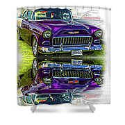 Wicked 1955 Chevy - Reflection Shower Curtain