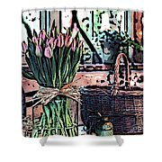 Wicker Basket And Flowers Shower Curtain