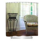Wicker Chair And Planter Shower Curtain