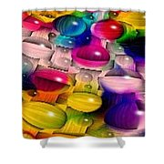 Wicker Marble Rainbow Fractal 2 Shower Curtain