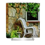 Wicker Rocking Chair On Porch Shower Curtain