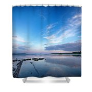 Wide Angled Sunset Over Moosehead Lake Shower Curtain