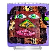 Wide Eyed Loup Garou Mardi Gras Screen Mask Shower Curtain