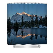 Wide Shuksans Last Light Reflected Shower Curtain