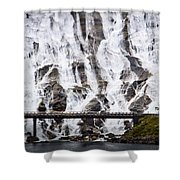 Wide Waterfal Joining The Sea Shower Curtain