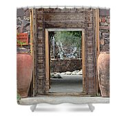 Wider Shot Stone Garden Wall And Clay Urns Shower Curtain