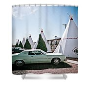 Wigwam Motel Classic Car #3 Shower Curtain