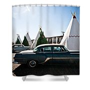 Wigwam Motel Classic Car #5 Shower Curtain