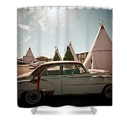 Wigwam Motel Classic Car #8 Shower Curtain