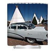 Wigwam Motel Classic Car Shower Curtain