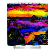Wild And Crazy Shoreline Dusk Shower Curtain