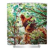 Wild Bear Peek-a-boo Watercolour Shower Curtain