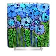 Wild Blue Poppies Shower Curtain