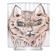 Wild- Brown Hair Cat Shower Curtain
