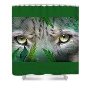 Wild Eyes - Snow Leopard Shower Curtain