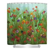 Wild Flowers Abstract Shower Curtain