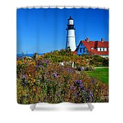 Wild Flowers Fading At The Portland Head Light Shower Curtain