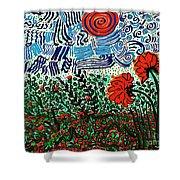 Wild Flowers Under Wild Sky Shower Curtain
