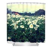 Wild Flowers White Shower Curtain