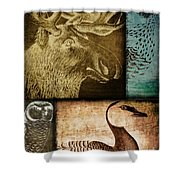 Wild Game Primitive Patchwork Shower Curtain