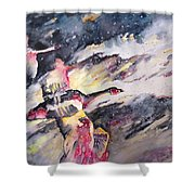 Wild Geese Flying In A Snow Storm Shower Curtain