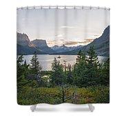 Wild Goose Island Sunset - Glacier National Park Montana Shower Curtain