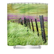 Wild Grain A Fence And Owls Clover Shower Curtain