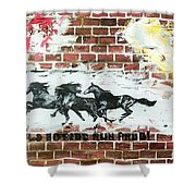 Wild Horses Running  Shower Curtain