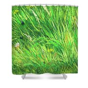 Wild Meadow Grass Structure In Bright Green Tones, Painting Detail. Shower Curtain