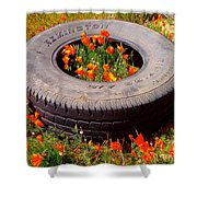 Wild Poppies Recycled Shower Curtain