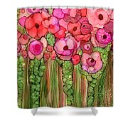 Wild Poppy Garden - Pink Shower Curtain