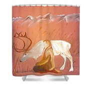 Wild Reindeer And Young Woman Becoming Friends - Poetic Painting Shower Curtain