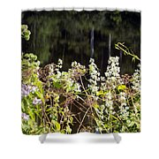 Wild Riverside Weeds And Flowers Shower Curtain