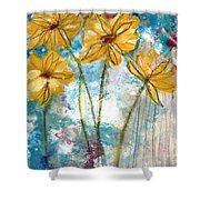 Wild Sunflowers- Art By Linda Woods Shower Curtain