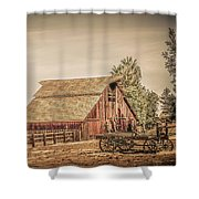 Wild West Barn And Hay Wagon Shower Curtain