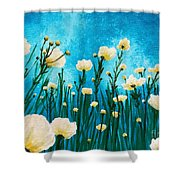 Poppies In The Blue Sky Shower Curtain