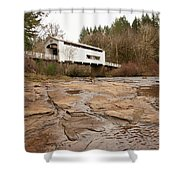 Wildcat Bridge In Winter Shower Curtain by Mary Jo Allen
