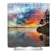 Wildcat Cove In Washington State At Sunset Shower Curtain