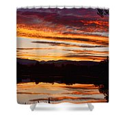 Wildfire Sunset 1v  Shower Curtain